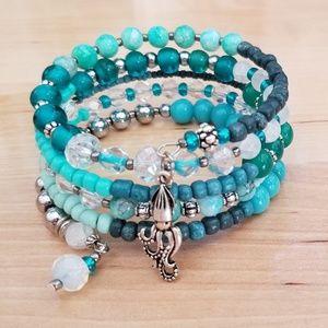 Jewelry - Beaded Memory Wire Bracelet with Charm